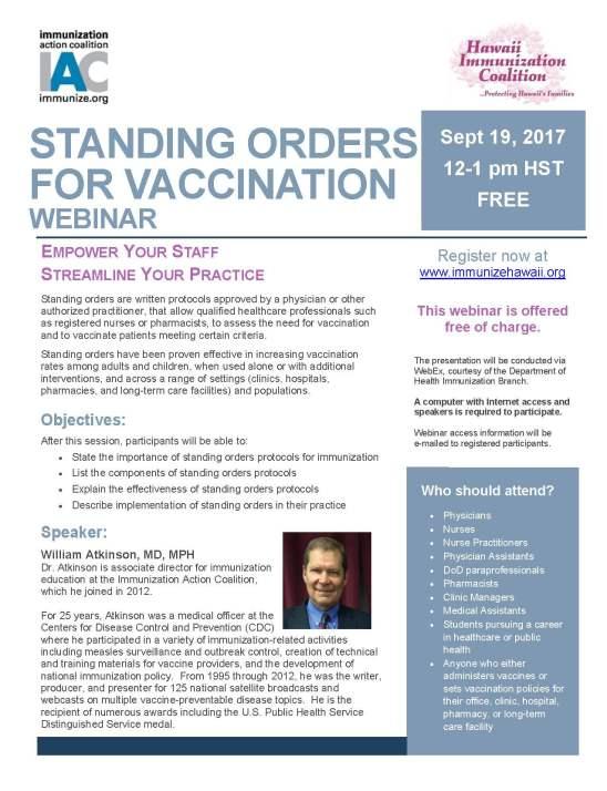 Standing Orders Webinar Flyer